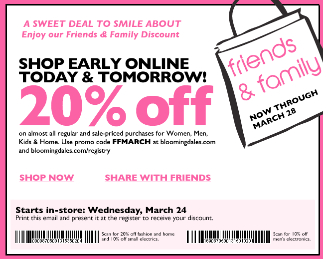 Bloomingdales friends and fmily discount